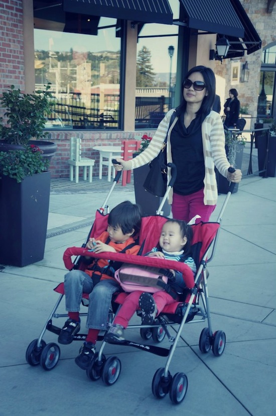 I know, what took us so long to get the double stroller!? Now, if only Min will stay in there long enough!